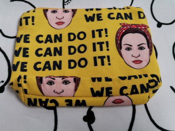 keltainen pussukka, we can do it -tekstillä