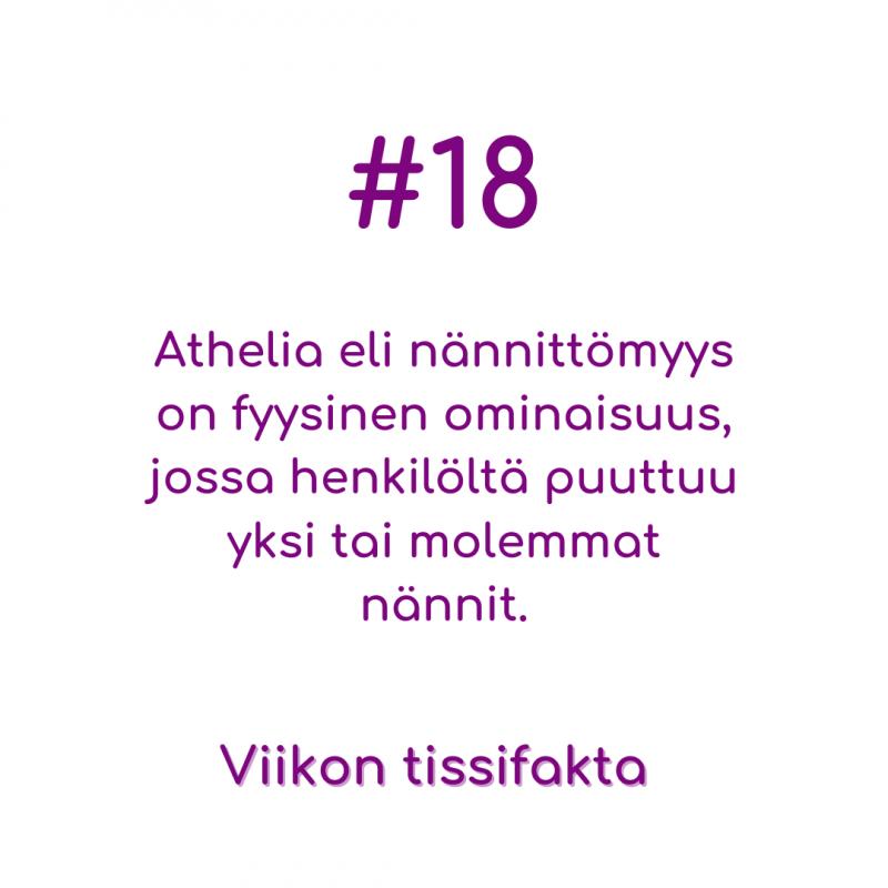 Viikon Tissifakta #18: Athelia eli nännittömyys on fyysinen ominaisuus, jossa henkilöltä puuttuu yksi tai molemmat nännit.