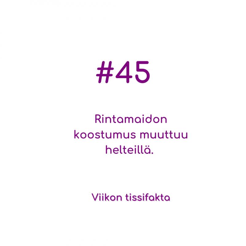 #45 Rintamaidon koostumus muuttuu helteillä. Viikon tissifakta.